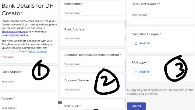 डेली हंट (DailyHunt) में अपनी बैंक डिटेल कैसे भरें। 1